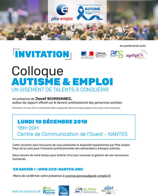 Colloque Autisme et Emploi – Lundi 10 décembre au CCO à Nantes